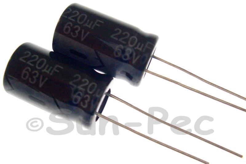 63V 220uF Electrolytic Capacitor E-Cap +-20% 10x16mm 2pcs - 10pcs