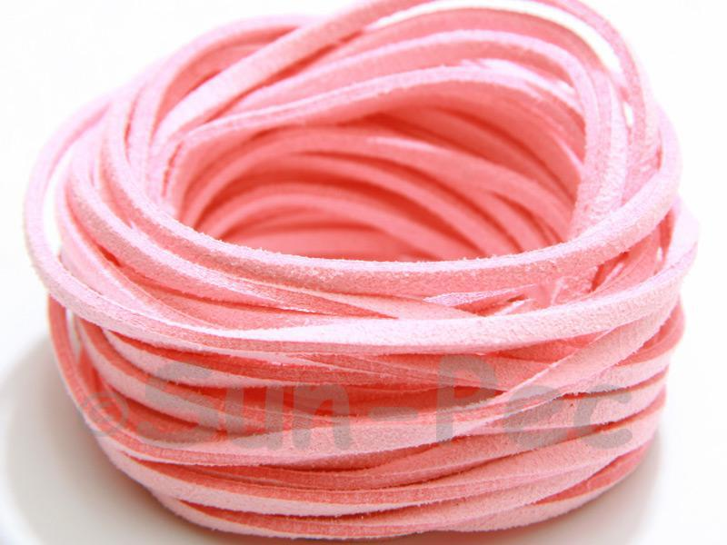Pale Pink 3mm Flat Faux Suede Lace Leather Cord 2m - 90m