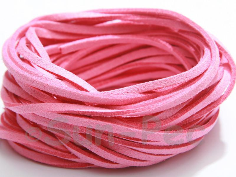 Light Pink 3mm Flat Faux Suede Lace Leather Cord 2m - 90m