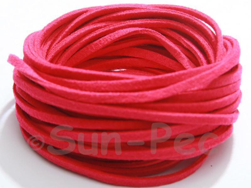 Rose 3mm Flat Faux Suede Lace Leather Cord 2m - 90m