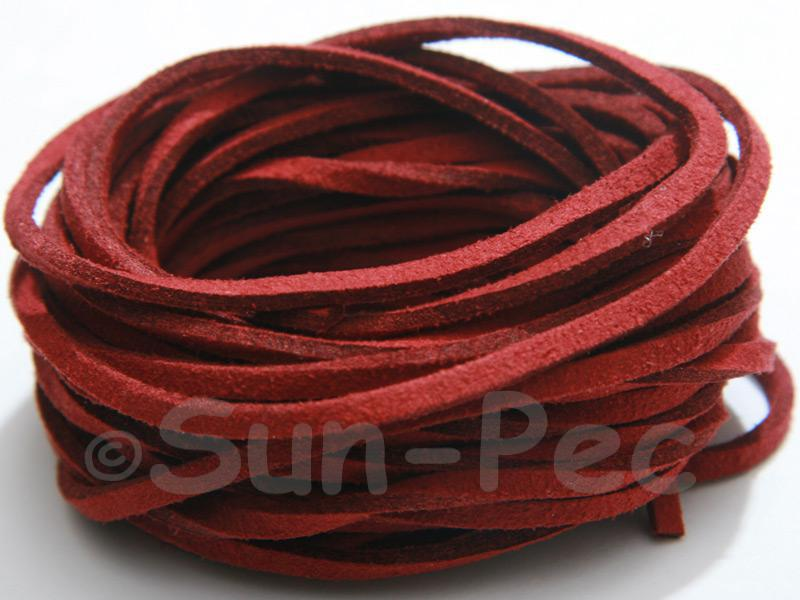 Dark Red 3mm Flat Faux Suede Lace Leather Cord 2m - 90m