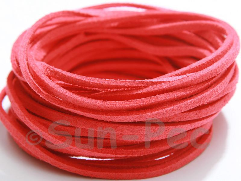 Watermelon Red 3mm Flat Faux Suede Lace Leather Cord 2m - 90m