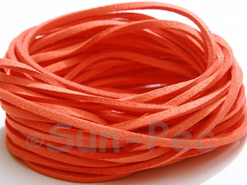 Orange 3mm Flat Faux Suede Lace Leather Cord 2m - 90m