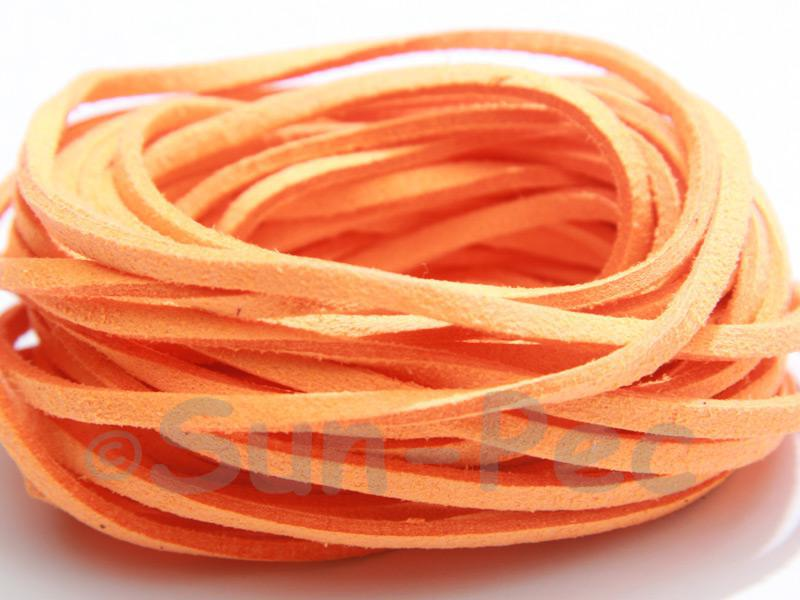 Pale Orange 3mm Flat Faux Suede Lace Leather Cord 2m - 90m