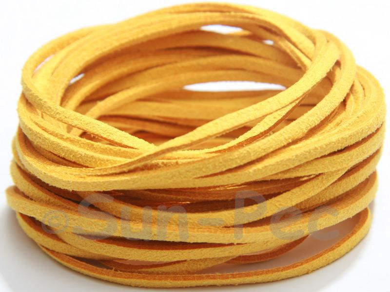 Dusty Yellow 3mm Flat Faux Suede Lace Leather Cord 2m - 90m