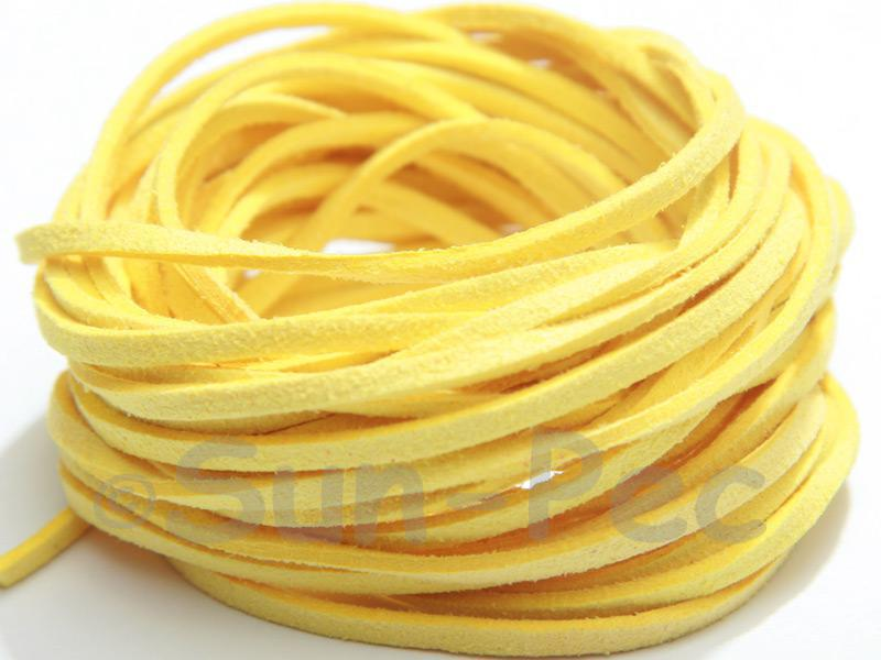 Pale Yellow 3mm Flat Faux Suede Lace Leather Cord 2m - 90m