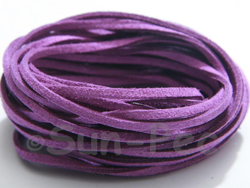 Purple 3mm Flat Faux Suede Lace Leather Cord 2m - 90m