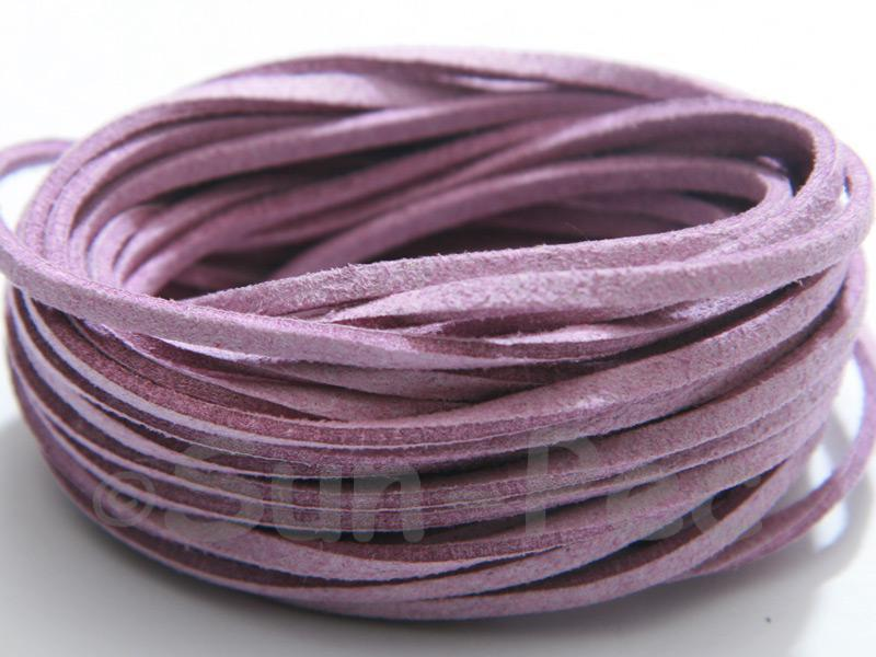Pale Purple 3mm Flat Faux Suede Lace Leather Cord 2m - 90m