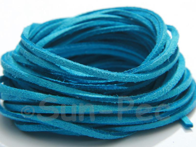 Aqua 3mm Flat Faux Suede Lace Leather Cord 2m - 90m