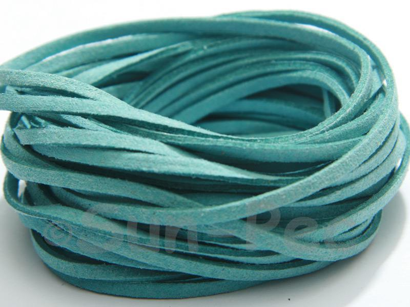 Turquiose 3mm Flat Faux Suede Lace Leather Cord 2m - 90m
