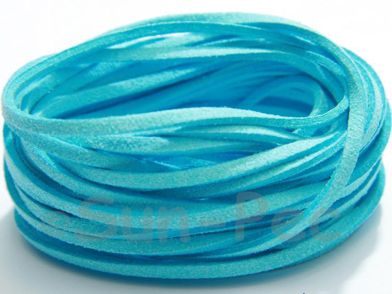 Light Blue 3mm Flat Faux Suede Lace Leather Cord 2m - 90m