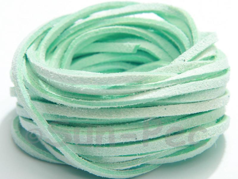 Mint Green 3mm Flat Faux Suede Lace Leather Cord 2m - 90m