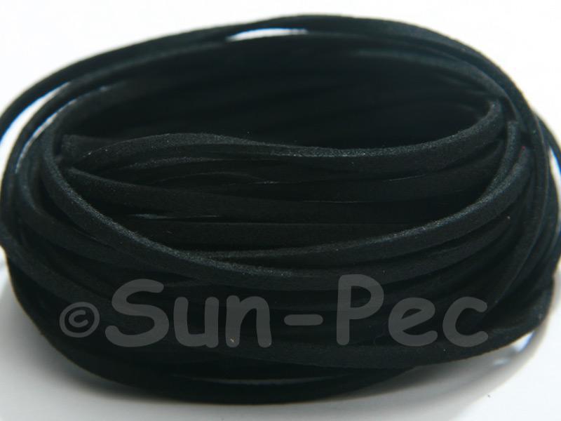Black 3mm Flat Faux Suede Lace Leather Cord 2m - 90m