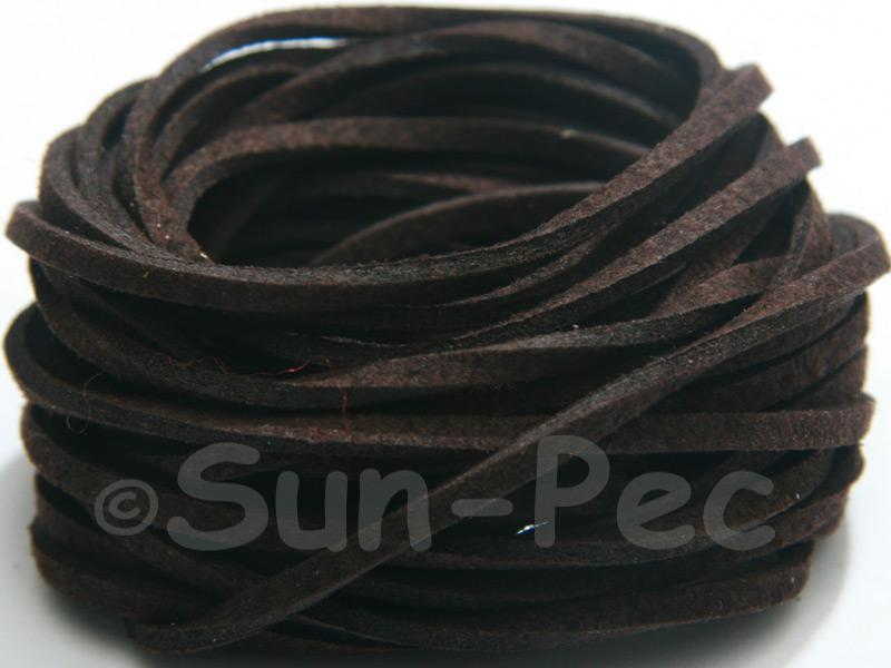 Black coffee 3mm Flat Faux Suede Lace Leather Cord 2m - 90m