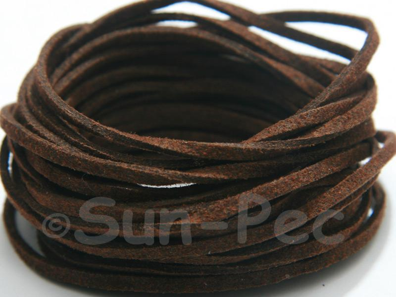 Dark Brown 3mm Flat Faux Suede Lace Leather Cord 2m - 90m