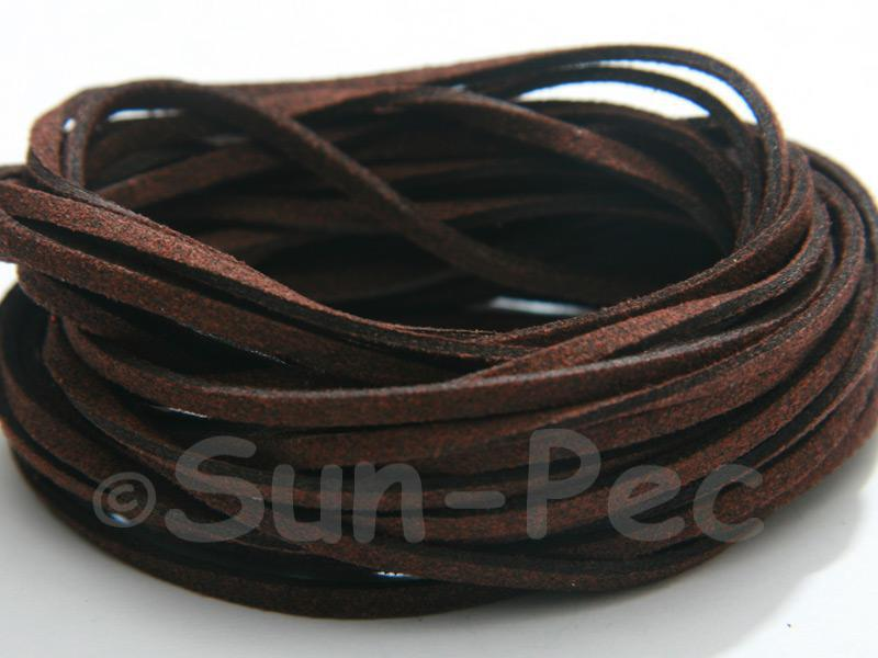 Dark Chocolate 3mm Flat Faux Suede Lace Leather Cord 2m - 90m