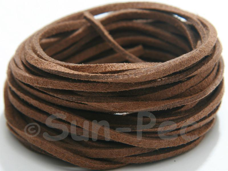 Brown 3mm Flat Faux Suede Lace Leather Cord 2m - 90m