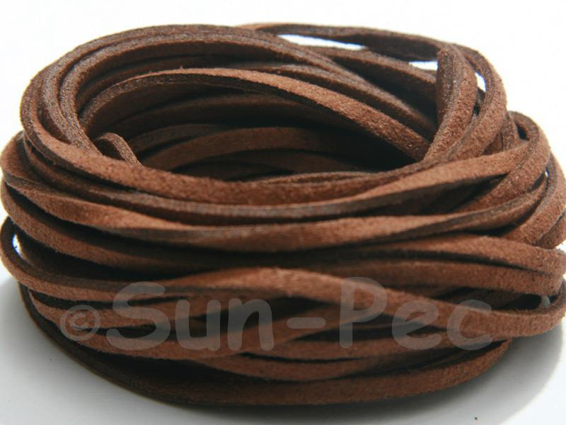Chocolate 3mm Flat Faux Suede Lace Leather Cord 2m - 90m