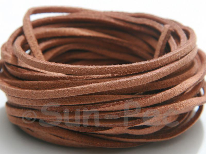 Caramel 3mm Flat Faux Suede Lace Leather Cord 2m - 90m