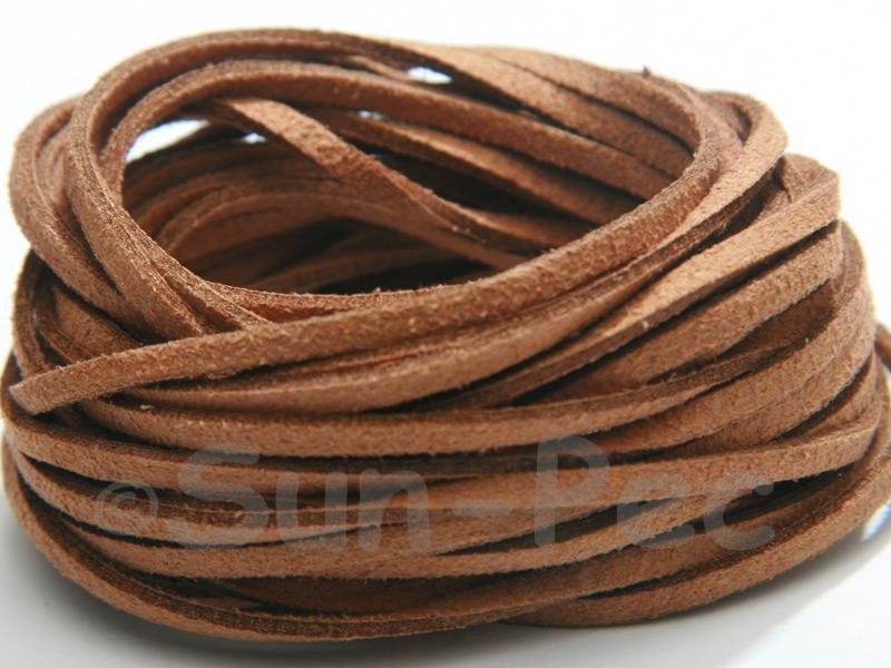 Light Brown 3mm Flat Faux Suede Lace Leather Cord 2m - 90m