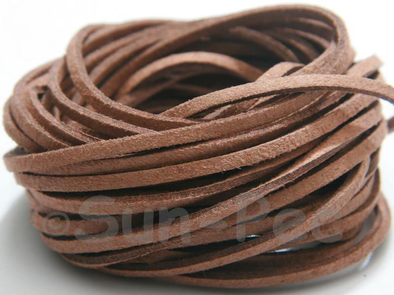 Dark Tan 3mm Flat Faux Suede Lace Leather Cord 2m - 90m