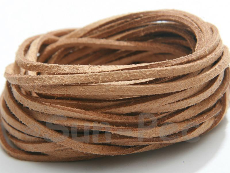Sandy brown 3mm Flat Faux Suede Lace Leather Cord 2m - 90m