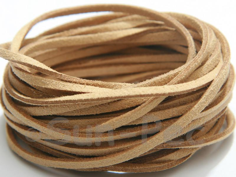 Camel 3mm Flat Faux Suede Lace Leather Cord 2m - 90m