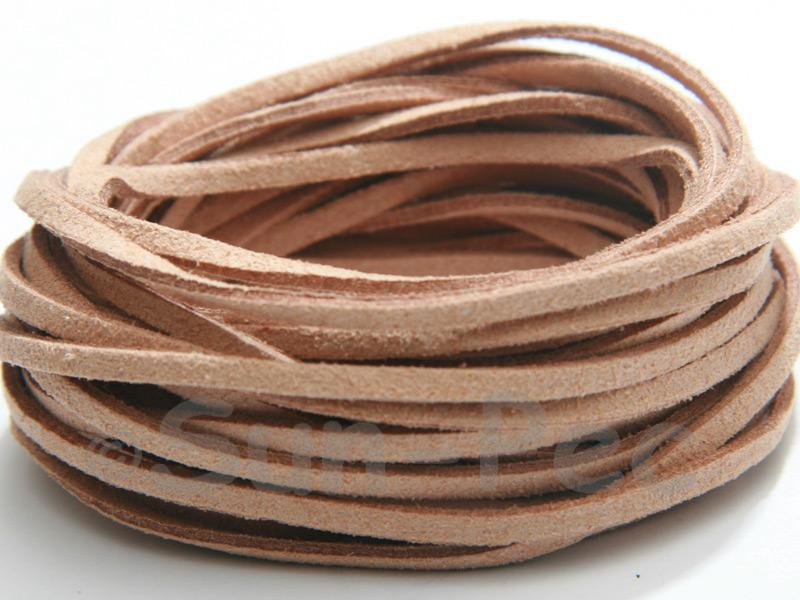 Tan 3mm Flat Faux Suede Lace Leather Cord 2m - 90m