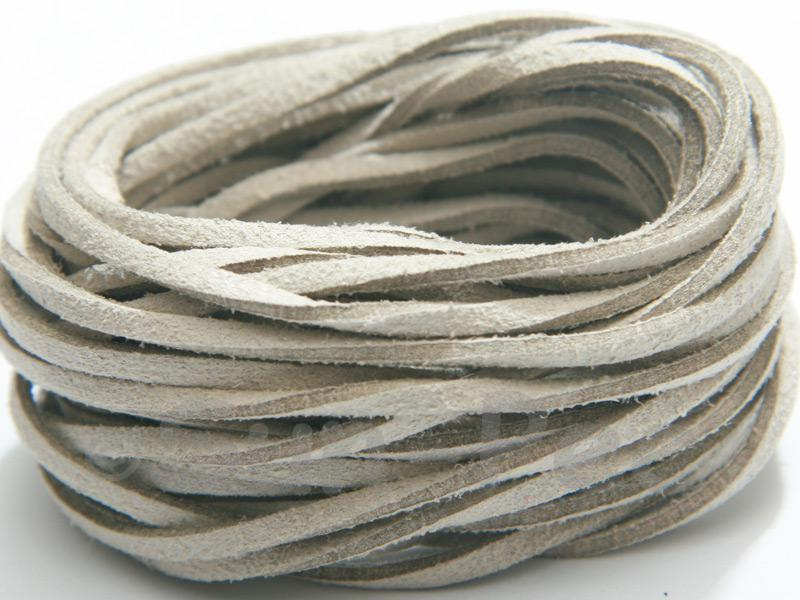 Neutral 3mm Flat Faux Suede Lace Leather Cord 2m - 90m