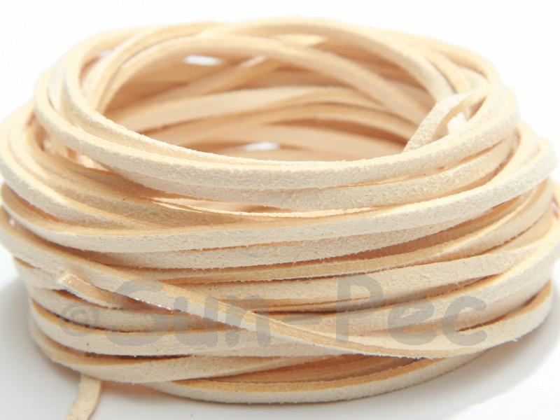 Cream 3mm Flat Faux Suede Lace Leather Cord 2m - 90m