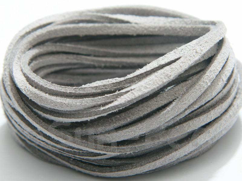 Light Grey 3mm Flat Faux Suede Lace Leather Cord 2m - 90m