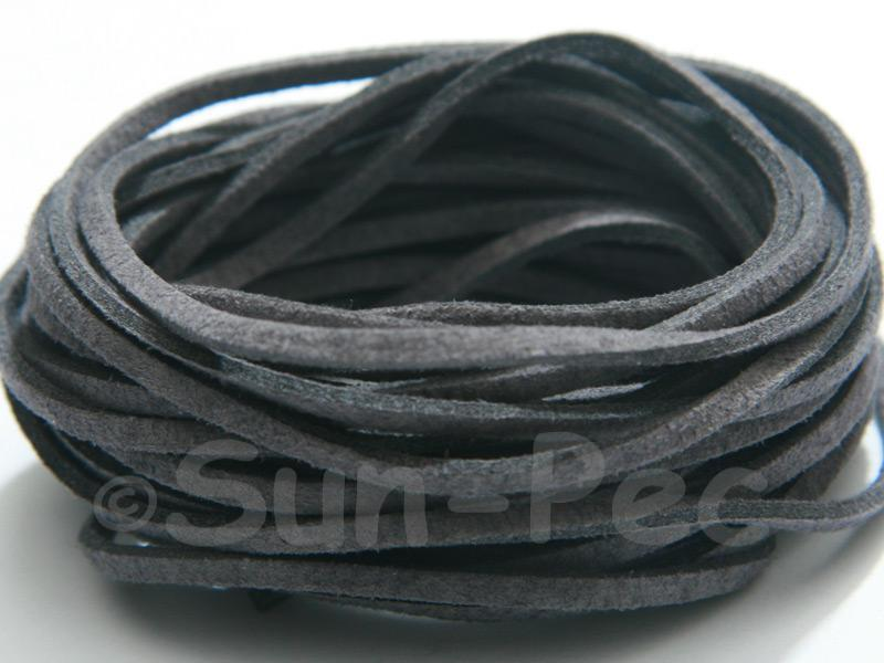 Dark Grey 3mm Flat Faux Suede Lace Leather Cord 2m - 90m