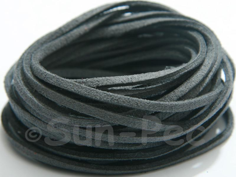 Dark Charcoal 3mm Flat Faux Suede Lace Leather Cord 2m - 90m
