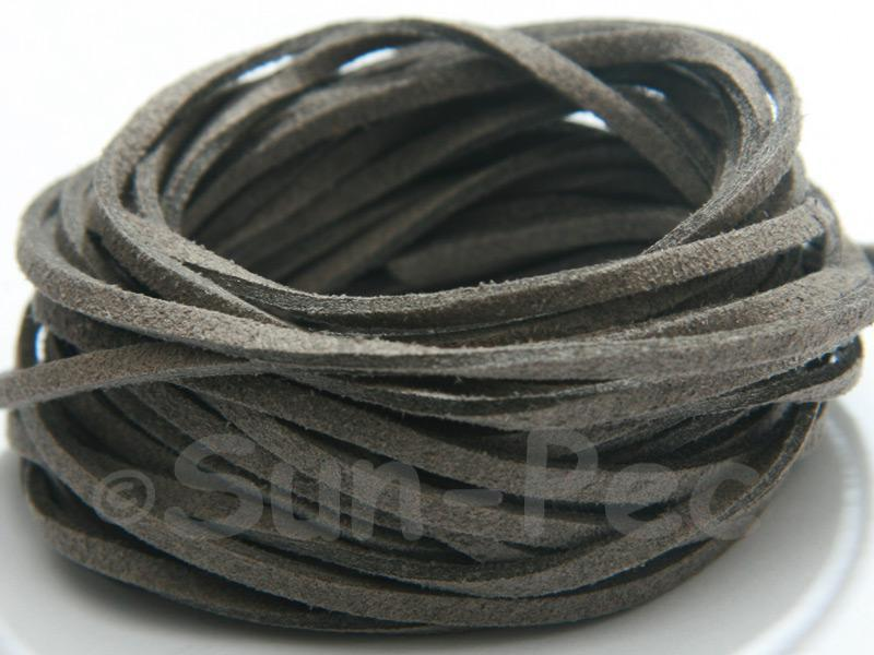 Grey 3mm Flat Faux Suede Lace Leather Cord 2m - 90m