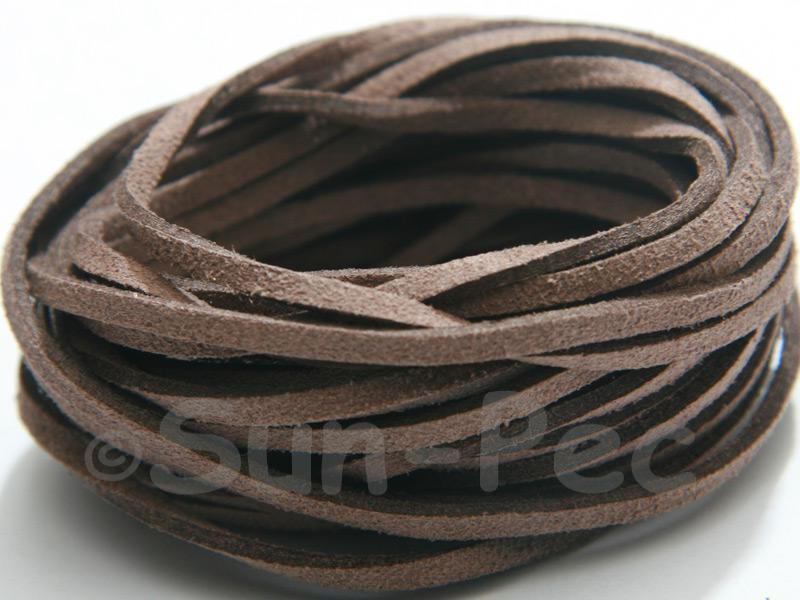 Rusty Grey 3mm Flat Faux Suede Lace Leather Cord 2m - 90m