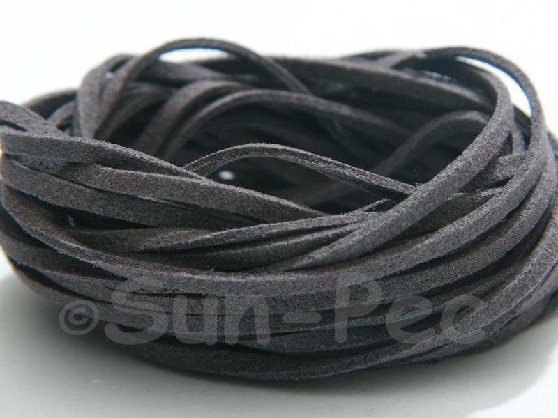 Charcoal 3mm Flat Faux Suede Lace Leather Cord 2m - 90m