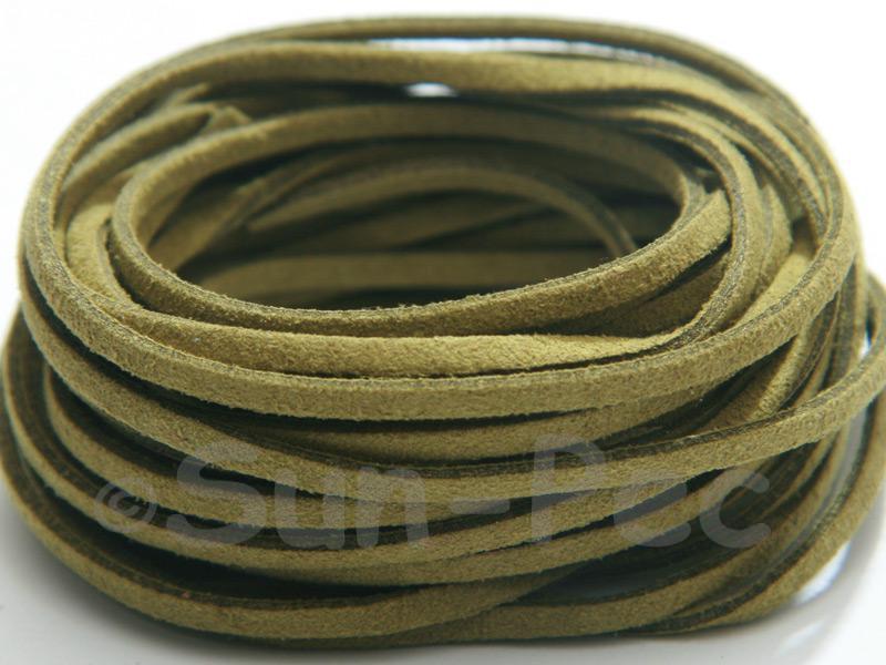 Khaki 3mm Flat Faux Suede Lace Leather Cord 2m - 90m