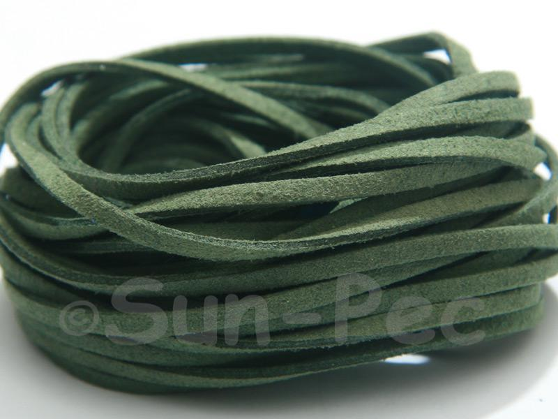 Dark Green 3mm Flat Faux Suede Lace Leather Cord 2m - 90m