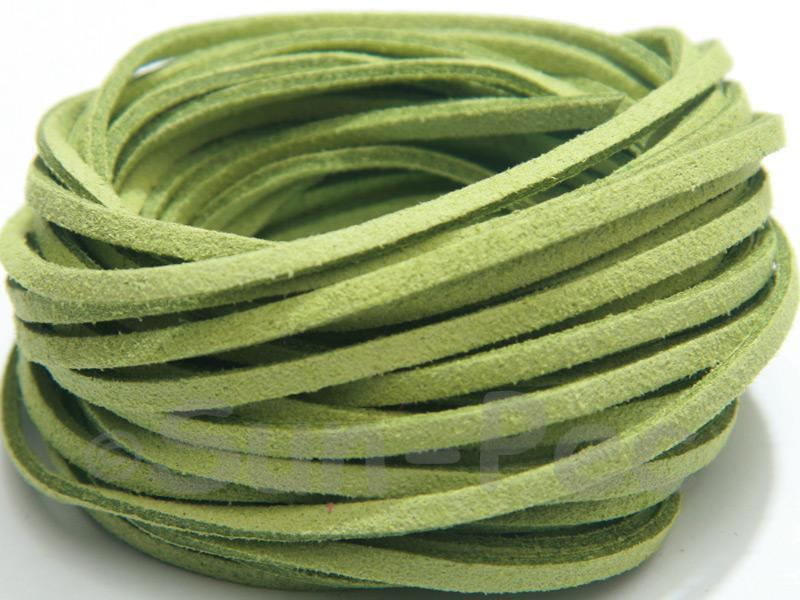 Lime Green 3mm Flat Faux Suede Lace Leather Cord 2m - 90m