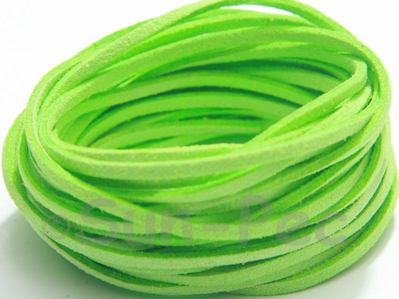 Bright Green 3mm Flat Faux Suede Lace Leather Cord 2m - 90m
