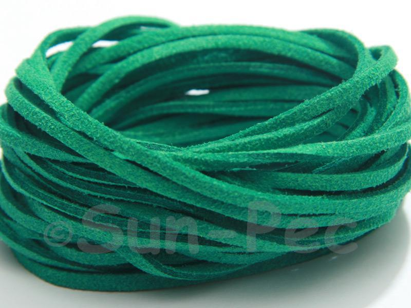 Green 3mm Flat Faux Suede Lace Leather Cord 2m - 90m