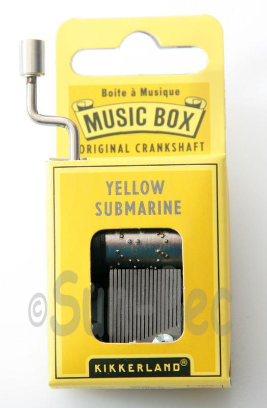 Yellow Submarine Kikkerland Wind-Up Hand Crank Music Box 1pcs