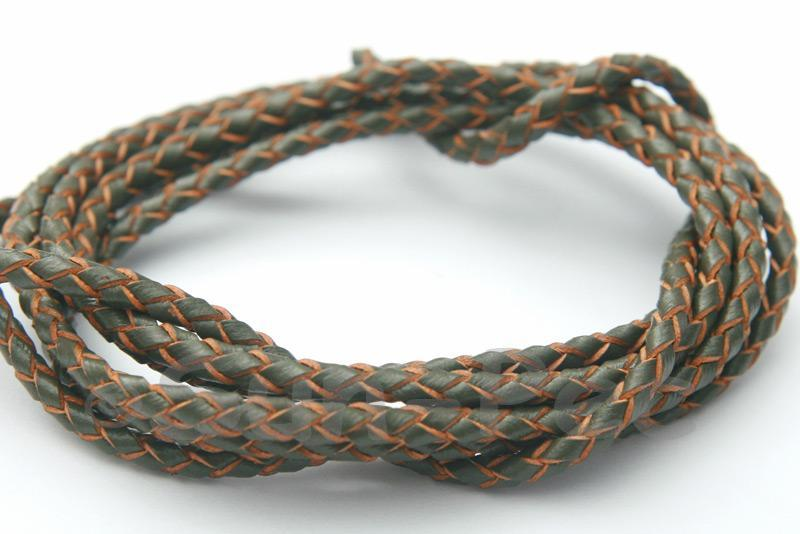 Army Green 3mm Braided Genuine Hide Leather Cord 1m - 5m
