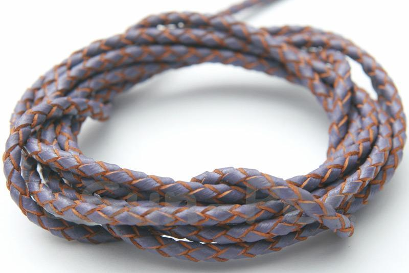Purple 3mm Braided Genuine Hide Leather Cord 1m - 5m