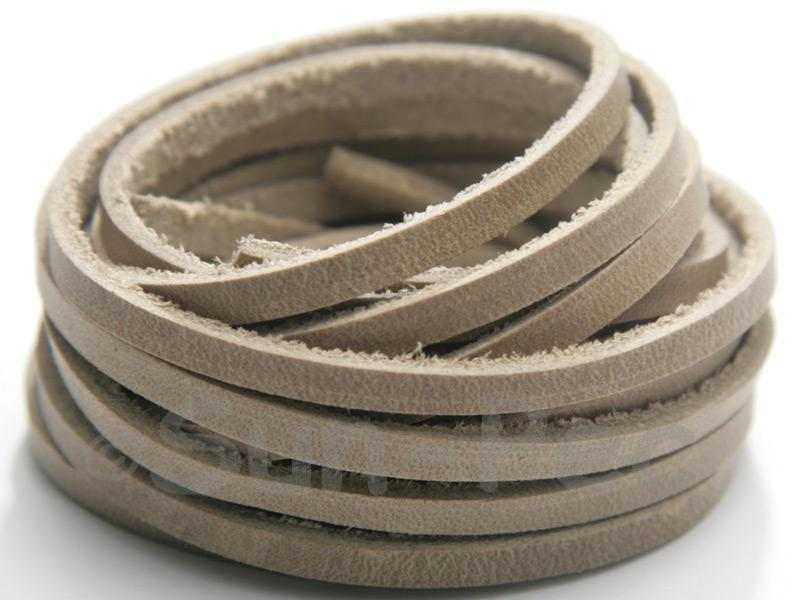 Grey Cream 4mm x 2mm Flat Genuine Hide Leather Thong Cord 1 meter 1pcs - 2pcs