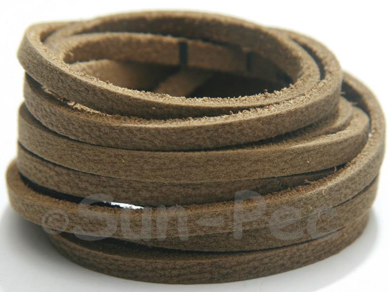 Khaki Green 4mm x 2.5mm Flat Genuine Hide Leather Thong Cord 1 meter 1pcs