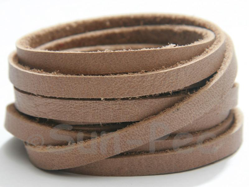 Dark Beige 5mm Flat Genuine Hide Leather Thong Cord 1 meter 1pcs