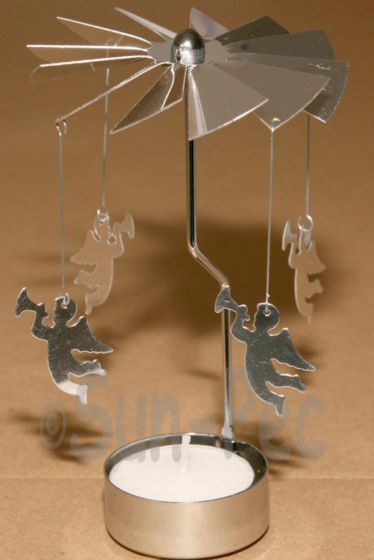 Silver 130x80mm Spining Rotating Tea Light Candle Holder 1pcs - 2pcs