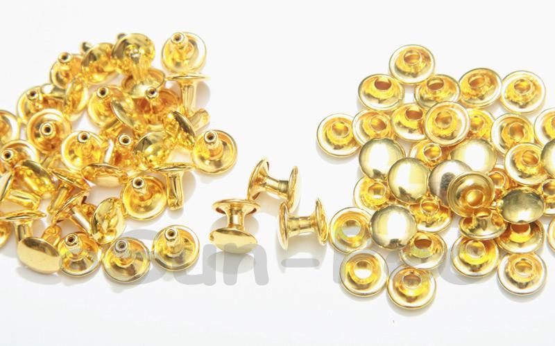 Bright Gold 9 x 8mm Flat Round Dome Rivet & Burr Sets 10pcs - 100pcs