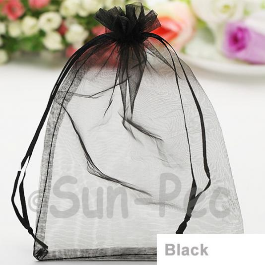 Black 10 x 12cm +-0.5cm Sheer Organza Bags for Gifts/Favours 10pcs - 50pcs